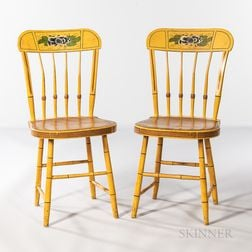 Pair of Yellow Rounded Tablet-top Paint-decorated Chairs