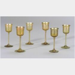 Six Tiffany Gold Favrile Glass Cordials