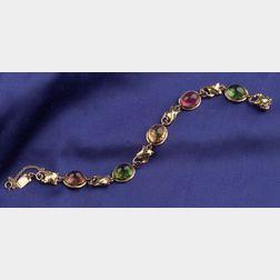 Arts & Crafts 14kt Gold and Tourmaline Bracelet, Edward Oakes
