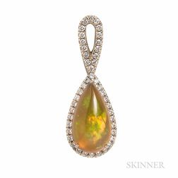 14kt White Gold and Opal Pendant
