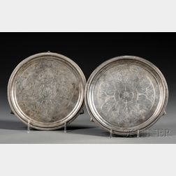 Near Pair of Early Tiffany & Co. Sterling Footed Waiters