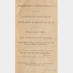 Baker, Samuel (c. 1711-1778) Bibliotheca Rawlinsoniana