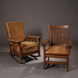 L. & J.G. Stickley Armchair and Oak Craft Rocker