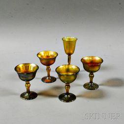 Five Tiffany Gold Favrile Glass Cordials