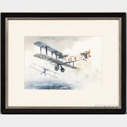 Watercolor Depicting Two British Biplanes