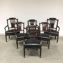 Set of Six Neoclassical-style Carved and Upholstered Mahogany Armed Dining Chairs