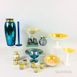 Seventeen Iridescent Glass Tableware Items