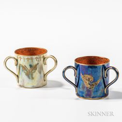 Two Wedgwood Lustre Three-handled Cups