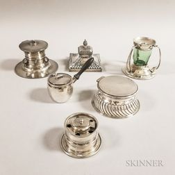 Six Sterling Silver Inkwells