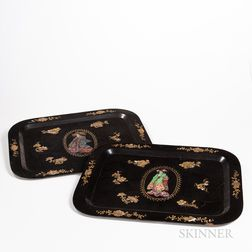 Two Export Lacquer and Mother-of-pearl-inlaid Tea Trays