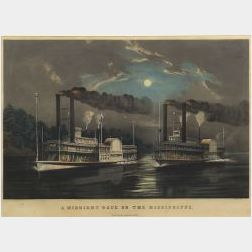 Currier & Ives, publishers (American, 1857-1907)  A MIDNIGHT RACE ON THE MISSISSIPPI.  Natchez/Eclipse