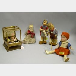 Lots of Six Dolls and a Bed