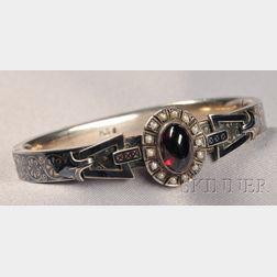 Antique Silver Niello and Garnet Bracelet