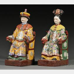 Pair of Enameled Emperor and Empress Figures