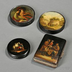 Three Lacquer Boxes and a Purse
