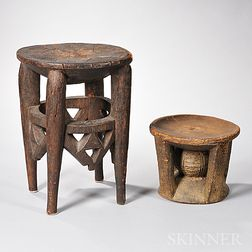 Two African Carved Wood Stools