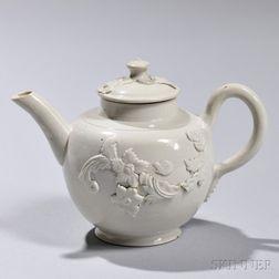 White Salt-glazed Stoneware Teapot and Cover
