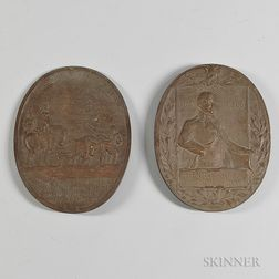 Two Oval Bronze Plaques Commemorating Henry Knox and the Siege of Boston