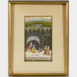 Miniature Painting Depicting Krishna Being Groomed