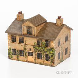 Polychrome Painted House-form Tea Caddy