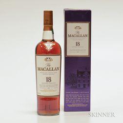Macallan 18 Years Old, 1 750ml bottle (oc)