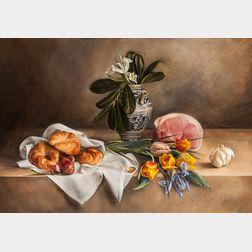 Margaret Hancock (British, 19th/20th Century)      Still Life with Tulips, Ham, Croissants, and Italian Faience Pot