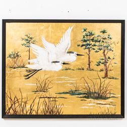 Painting Depicting a Pair of Egrets in Flight