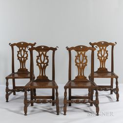 Four Chippendale Oak Side Chairs