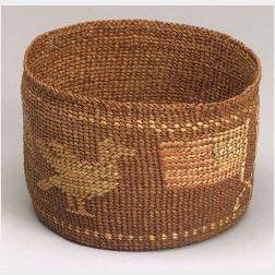 Northwest Coast Polychrome Twined Basketry Bowl