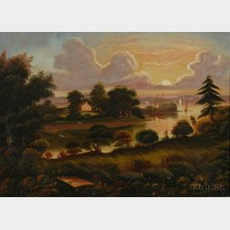 Attributed to Thomas Chambers ((London, New York, and Boston, 1808-1866) View of Popes Creek Plantation, Birthplace of George Washingt