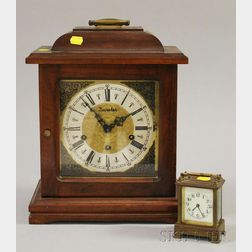 Modern German Table Clock and a Waterbury Carriage Timepiece.