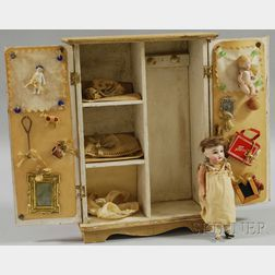 Small Bisque Head Doll with Wardrobe and Clothes