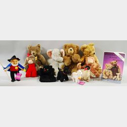 Eleven Steiff Mohair and Steiff-type Toys and a Collector Book