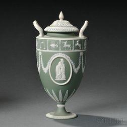 Wedgwood Green Jasper Dip Vase and Cover