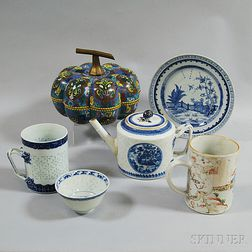 Six Chinese Mostly Porcelain Items