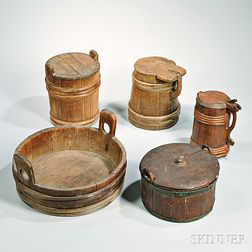 Five Staved Wooden Containers