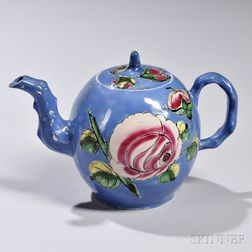 Enameled Salt-glazed Stoneware Teapot and Cover
