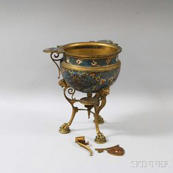 Barbedienne Bronze and Champleve Jardinere on Stand