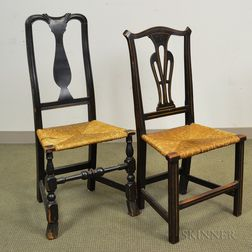 Queen Anne Black-painted Side Chair and a Transitional Chippendale Side Chair.     Estimate $100-150