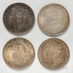 Three Common Date Morgan Dollars and a 1922 Peace Dollar.     Estimate $50-75