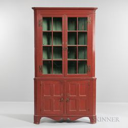 Red-painted and Glazed Two-part Corner Cupboard