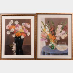 American School, 20th Century      Two Pastel Still Lifes: Flowers with Goldfish
