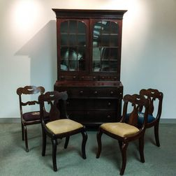 Classical Glazed Mahogany Veneer Desk/Bookcase and a Set of Four Chairs