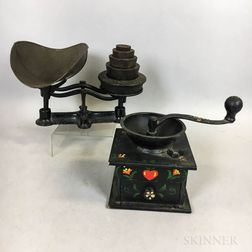 Small Paint-decorated Coffee Grinder and a Cast Iron Scale and Weights.     Estimate $20-200