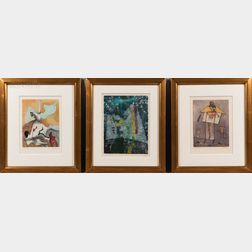 Roberto Matta (Chilean, 1911-2002), Dorothea Tanning (American, 1910-2012), and Jorge Camacho (Cuban, 1934-2011) Three Framed Color Etc