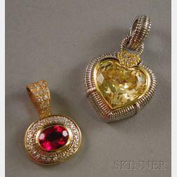 Two Gold, Gemstone, and Diamond Pendants