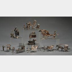 Twelve Miniature Chinese Silver Figures