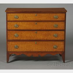Federal Cherry and Tiger Maple Veneer Chest of Drawers