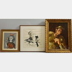 Three Framed 20th-Century Portraits in Assorted Media      Carlos Lacámara (Cuban/American, 1928-2007), Don Quixote