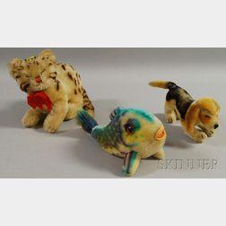 Three Modern Steiff Mohair Animal Toys